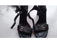 Ladies strappy black leather heels by George