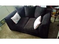 MODERN 6 MONTH OLD DARK BROWN THICK CORD SOFA.