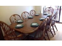 Solid Wood Light Oak Dining Table, Chairs And Wall Unit