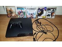Playstation 3 -250 gb 1 controller and 5 games