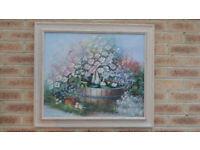 Beautiful Original Floral Oil Painting Signed 73cm x 63cm