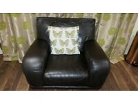 Italian Leather 2 Seater and Matching Chair