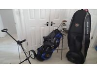 Great value golf clubs, bag, trolley and travel bag bonanza