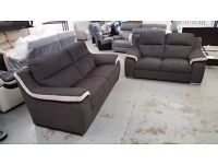 BRAND NEW ScS SiSi ITALIA MATTEO GREY & CREAM FABRIC 3 Seater & 2 Seater Sofa **CAN DELIVER**