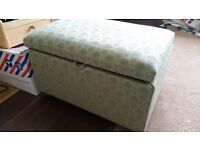 Ottoman storage trunk green small wooden feet bottom of bed chest
