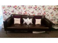 Brown leather Ikea sofa 3 seater