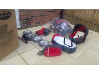 BABY MERC TRAVEL SYSTEM INCLUDES CAR SEAT,CARRYCOT AND CHANGING BAG