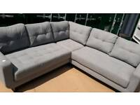 NEW Designer Grey Button Corner Sofa DELIVERY AVAILABLE