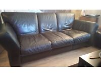 DFS BROWN LEATHER SUITE 3, 2 AND FOOTSTOOL