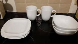Denby White Crockery - white square range - 2 x mugs, 3 x side plates & 3 x bowls