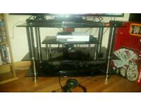Glass TV stand with tier