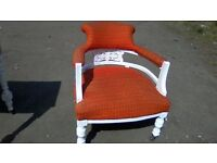 Victorian tub chair on dinky castor wheels