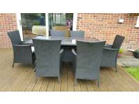 REDUCED dark brown rattan garden furniture table and 6 chairs