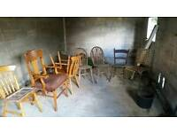 Job lot of 8 rustic/farmhouse chairs. Cheap to clear.