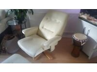 Leather recliner with stool