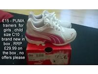 brand new in box girls puma trainers shoes children size C10