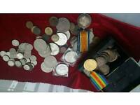 WW1 medals selection of old coins