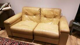 Leather 2 seater sofa vintage retro
