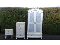 4 piece bedroom wardrobe and chest of drawers set