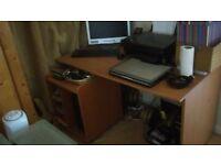 desk with under shelf storage on wheels