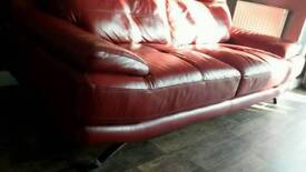 Harveys Genoa red leather 3 seater and 2 seater sofa and footstool