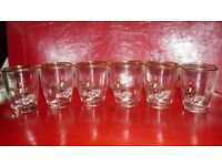 6 x Vintage gold leafed shot glass's with Horse & Hounds decoration