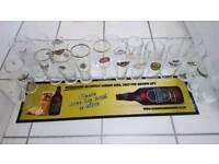 Pint glasses different brands drip mat