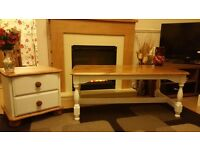 Coffee table and small chest of drawers