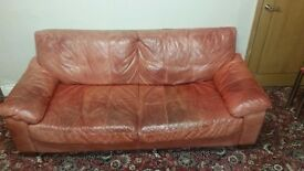£150 for 2 x 3 seater natural italian leather red sofa