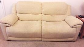 Sofa & 2 power recliner armchairs - cream