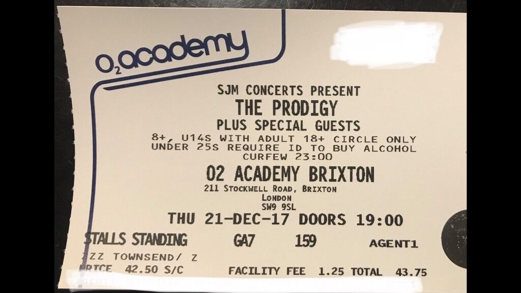 2 x Tickets The Prodigy / O2 Academy