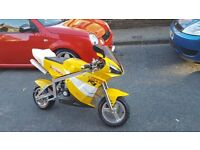 midi moto 49cc bigger then a mini moto lights, indicaters speedometer and electic start