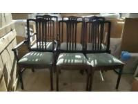 Set of 6 stag minstrel upholstered dining chairs vintage retro carver