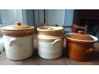 3 x Antique Stoneware lidded jars