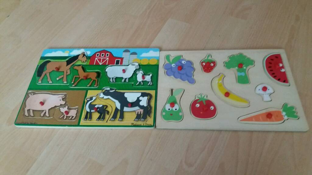 2 wooden puzzles 1 farm & 1 fruit/veg see pics
