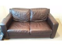 Double Sofa in Brown Faux Leather in Excellent Condition