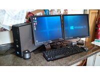 Dual monitor computer: 8Gb memory, 3D graphics, DVD-RW, 500Gb hard disk, Windows 10