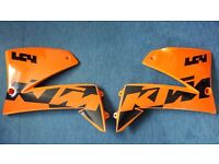 2002 KTM 640 LC4 Supermoto Tank Panels / Radiator Scoops Left & Right (Orange/Black)