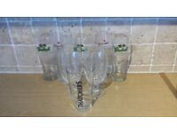 8 PINT POT GLASSES .. STELLA .. HEINEKEN .. GROLSCH .. THATCHERS