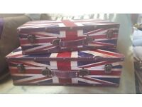 Two Vintage Style Union Jack Suitcases