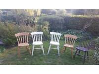 5 wooden beech dining chairs all sturdy