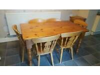 Large pine dining table and chairs