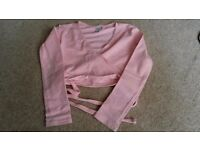 Child's Pink Bloch Long-sleeved Cross-over Ballet Cardigan (Size 0) + Free Matching Headband