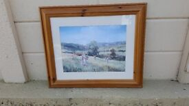 Pine framed glazed print of the Edwardian countryside