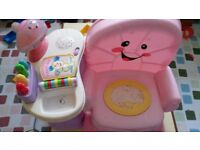 Pink child chair with musical function