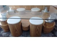 Statement piece Coffee Table and 4 matching stools