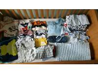 LARGE BUNDLE OF BABY BOY CLOTHES 0-6 MONTHS