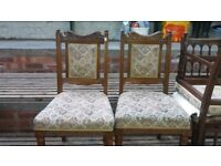 FANTASTIC QUALITY PAIR OF EDWARDIAN CARVED MATERIAL BACKED & TURNED CHAIRS