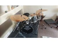 Tama Imperialstar full drum kit with stool sets of sticks cow bells