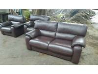 Brown leather sofa bargain quick sale